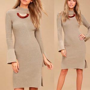 EVIDNT Beige Bodycon Sweater Dress